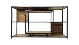 Open vakkenkast Levels - mangohout/ijzer 150 cm