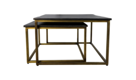 Vierkante salontafel Finnley - 70x70 cm - black wash/antique gold - set van 2