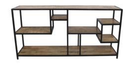 Open vakkenkast Levels - 160x80 cm - mangohout/ijzer
