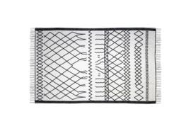 Vloerkleed - katoen - 120x70 cm - wit/zwart