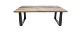 Rechthoekige eettafel Portland - 220x100 cm - mangohout/ijzer