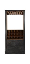 Wijnkast - worn black/naturel