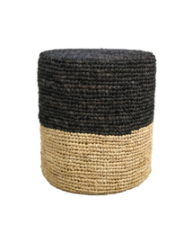 Pouf Malibu - raffia - ø34 cm - naturel/zwart