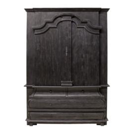 Buffetkast Durham - worn black/vintage teak
