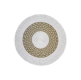 Vloerkleed - ø120 cm - raffia/zeegras - wit/naturel