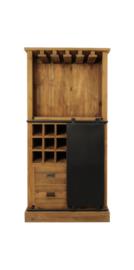 Wijnkast Blackburn - 84x177 cm - reclaimed teak