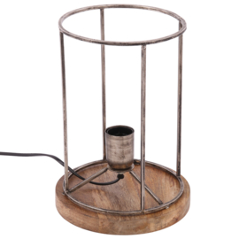 Tafellamp Audrey rond ruw nickel + hout