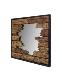 Wandspiegel - 80x80 cm - teak