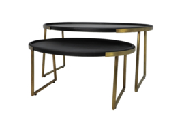 Salontafel Paulson - mangohout/antique gold - set van 2