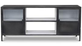 TV meubel Bronx - ijzer - donkergrijs/wit
