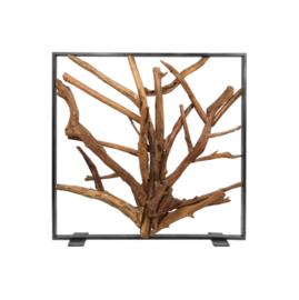 Roomdivider - 100x100 cm - metaal/teak