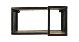 Wandplank Brixton - 60x30 cm - mangohout/ijzer