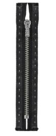 Broekrits zwart 14 cm  Zilver (Prym)