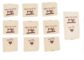 """""""Hand Made with love"""" Ecru met bruin opschrift"""