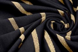 Viscose tricot stripe zwart goud