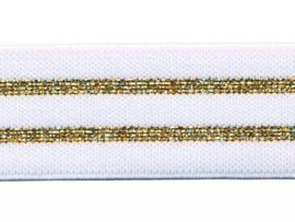 Elastiek gestreept wit met goud lurex 30 mm