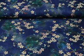 Scuba Crepe Bloemenbos blauw