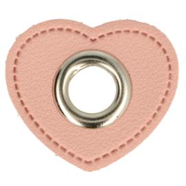 Nestelringen op Skai Leer roze 8mm nikkel