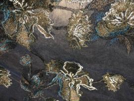 Bruidstule met geborduurde bloem Blauw