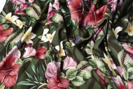 Tricot Tropische bloem army groen (digitaal)