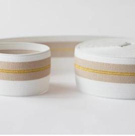 Elastiek wit beige met gouden lijnen