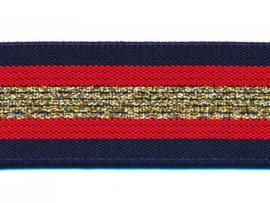 Elastiek gestreept donker blauw-rood met goud lurex 30 mm