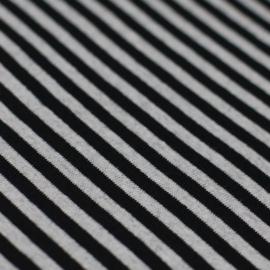 Boordstof strepen 5mm Zwart / Grijs (Melange)