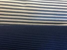 Gebreide geribde stof donker blauw (Swafing)