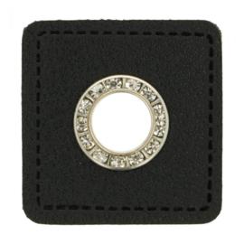 Nestelringen met diamant op Skai Leer 8mm nikkel