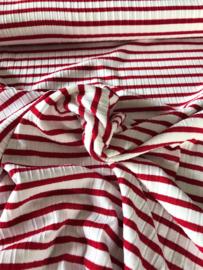 Viscose Tricot geribd Wit rood