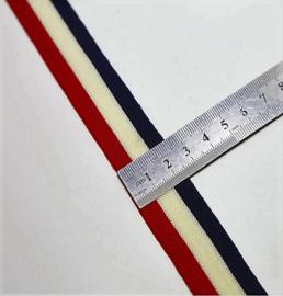 Elastisch lint rood ecru blauw L 190 B 3.5 cm