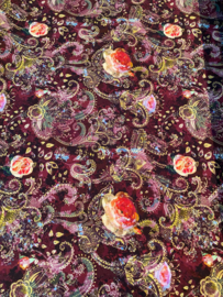 Viscose tricot Paisley donker rood