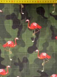 Katoen Camouflage flamingo