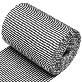 Boordstof strepen 5mm Zwart / Wit