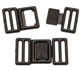 Riemgesp zwart kunststof 25 mm
