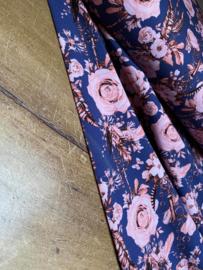 Tricot Romantic roses blauw