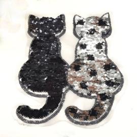Kat omkeerbare pailletten zilver zwart