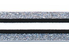Elastiek gestreept zwart-wit met zilver lurex 30 mm