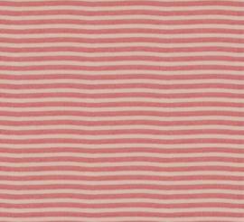 Gebreide gestreepte stof koraal rood (Swafing)