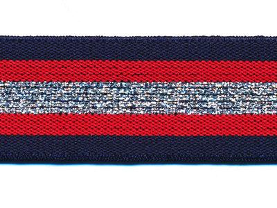 Elastiek gestreept donker blauw-rood met zilver lurex 30 mm