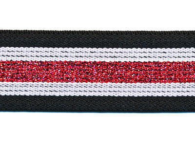 Elastiek gestreept zwart-wit met rood lurex 30 mm