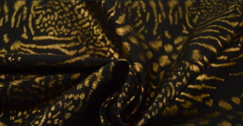 Goudprint stretch zwart