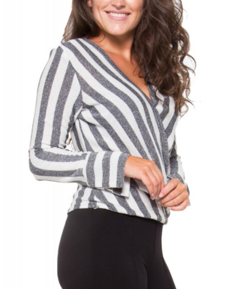 Jersey stripes glitter grey