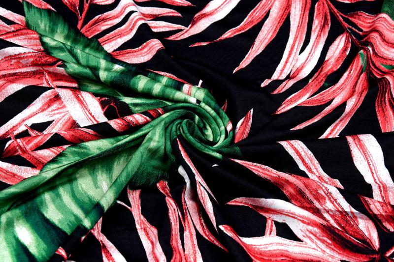 Travel tricot Simmer Tropische Bladeren Zwart