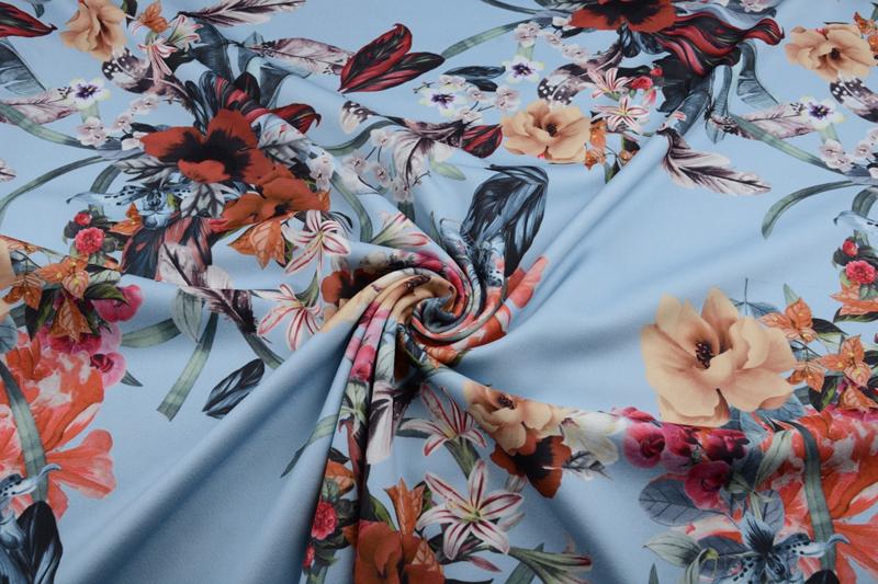 Scuba Crepe bloem blauw