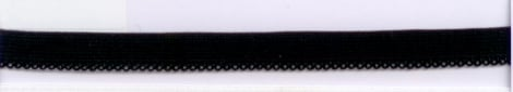 Lingerie elastiek met rand 9 mm zwart