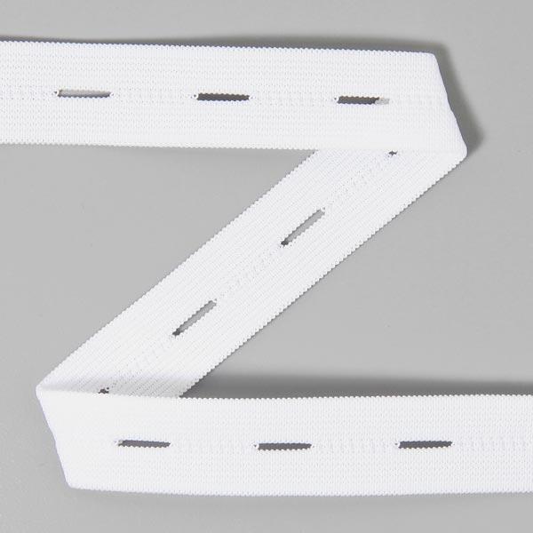 Knoopsgaten elastiek wit 1.5 cm