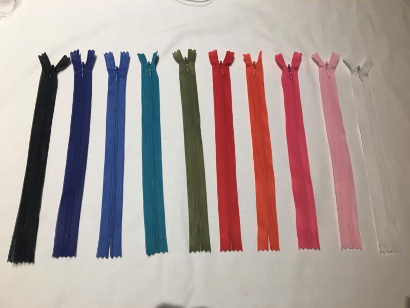 Blinde rits 28 cm Verschillende kleuren