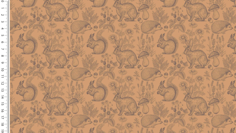 French Terry Brushed Forest animals oker
