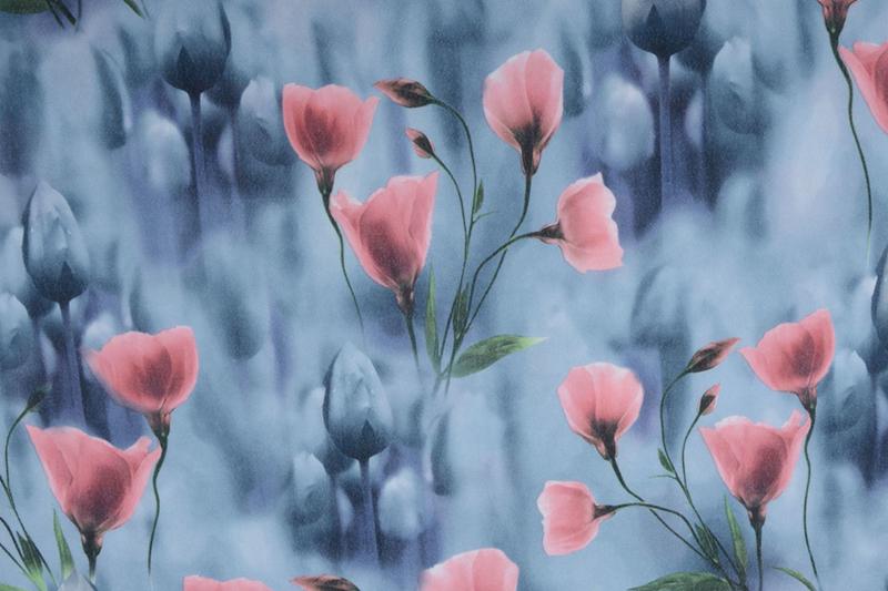 Scuba Crepe Grijs Blauw Poppy Oud Roze